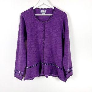 April Cornell Purple Knit Sweater Ruffle Hem Large